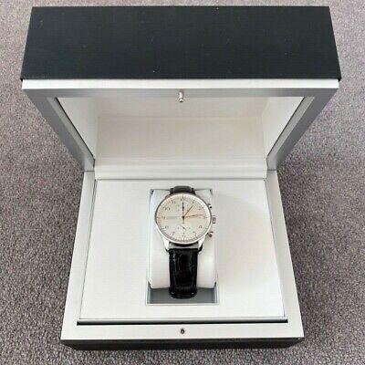 iwc portuguese chronograph white face black leather strap