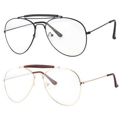 Classic Vintage Retro Aviator Clear Lens Gold Metal Frame Eyeglasses (Clear Gold Aviator Glasses)