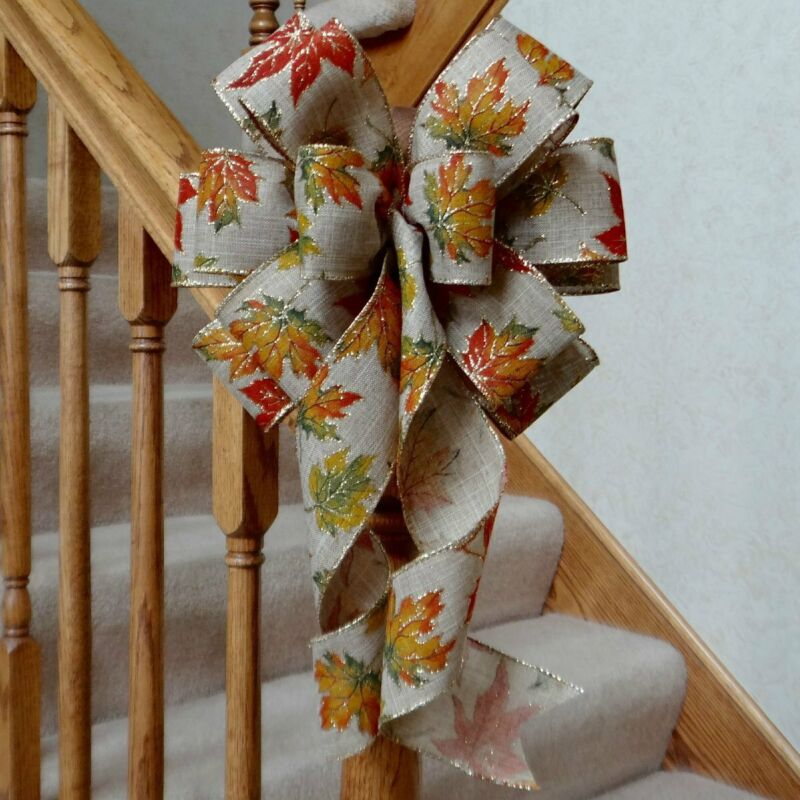 """10"""" WIDE FAUX BURLAP BOW WITH FALL LEAVES & GOLD GLITTER~DECOR, CRAFTS, LANTERNS"""