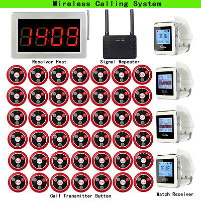 Pager-kit (Restaurant Calling Pager Kit Host+4 Watch Receiver+Signal Repeater+42Call Button)