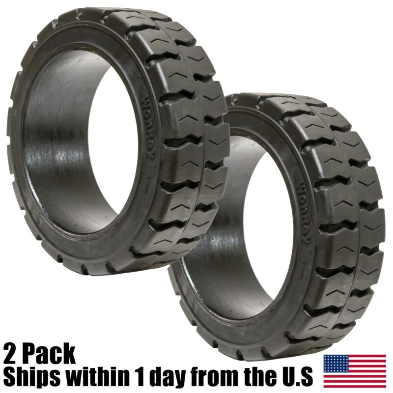 2PK 16X6X10.5 16x6-10.5 Solid Flat Proof Press-On Traction Forklift Tire 16610