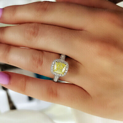 Natural 2.30 Ct Cushion Cut Fancy Yellow Halo Diamond Engagement Ring VS2 14k