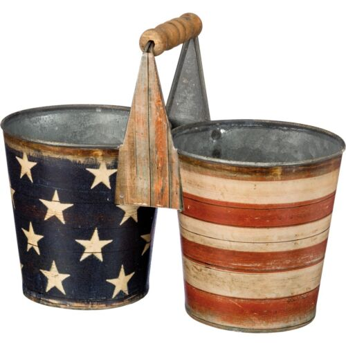 Patriotic Stars & Stripes Double Plant Caddy, Rustic Tin look, wood handle, NWT