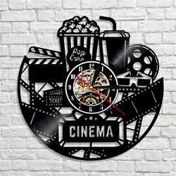 Cinema Vinyl Record Wall Clock Hollywood Film Home Decor Popcorn Movie Room Gift