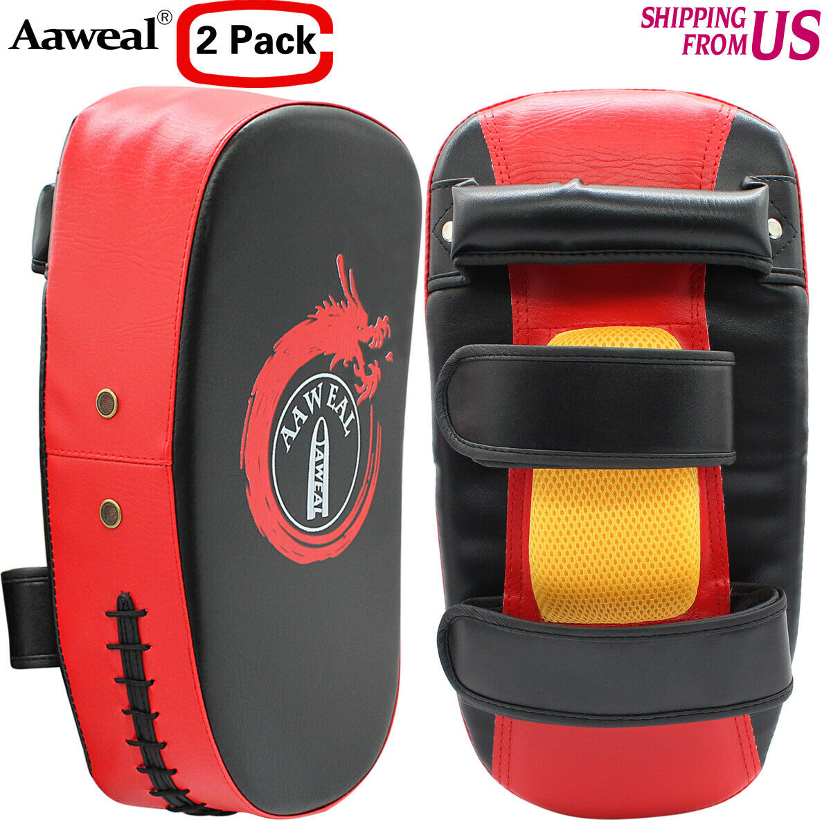 Red MMA Thai Muay Pad Boxing Kick Strike Arm Focus Punch Kicking Shield