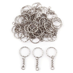 20 PCS Keyring Blanks Silver Tone Key Chains Findings Split Rings 4 Link