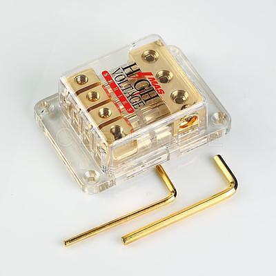 Gold Plated Power Ground Distribution Block Three 4 Gauge Input To 8 Ga Output ()