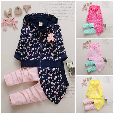 2pcs baby girl clothes tracksuit daily outfits top hoodie outerwear jacket+pants ()