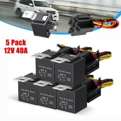 5 Pack 12v 3040 Amp 5-pin Car Spdt Automotive Relay With Wires Harness Socket