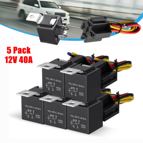 5 Pack 12V 30/40 Amp 5-Pin Car SPDT Automotive Relay with Wires & Harness Socket