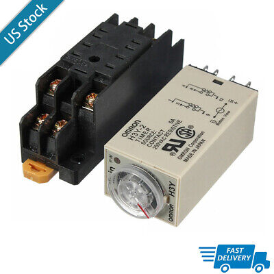 H3y-2 Dc 12v24v Ac 110v Power On Time Delay Relay Solid-state Timer Dpdt Socket