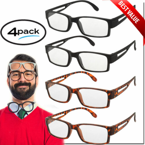 Reading Glasses Readers 4 Pack for Men and Women Classic Style Square Frame New