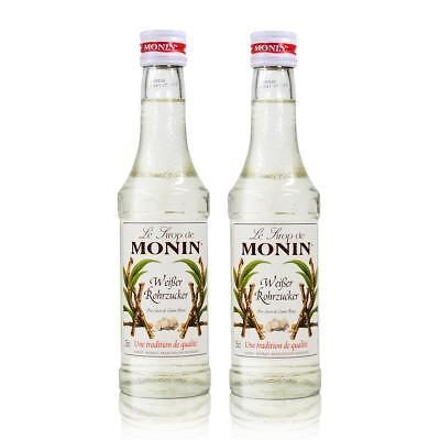2x Monin Weißer Rohrzucker Sirup, 250 ml Flasche - für Cocktails, zum Kaffee od
