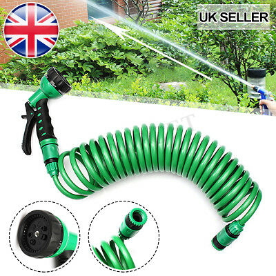 New Retractable Coil Garden Hose Pipe Brass Connectors Fittings Spray Gun