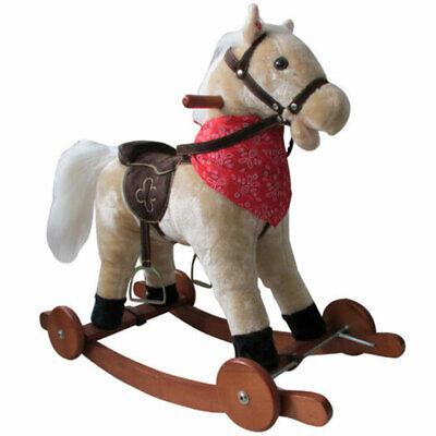 Schaukelpferd mit Rollen Holz Plüsch Schaukel Pferd Kinder NEU SP2