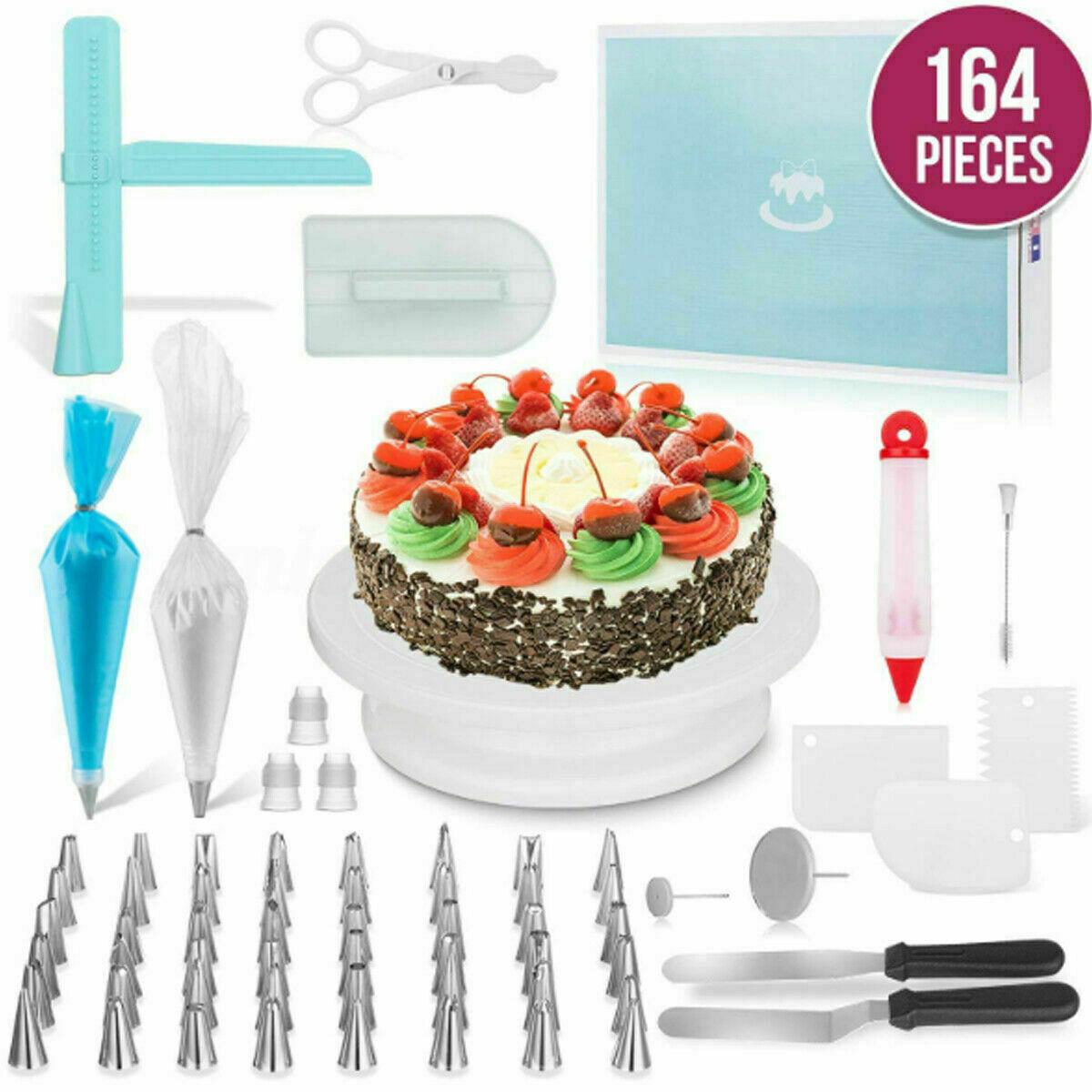 164 pcs Icing Piping Nozzles Pastry Tips Cake Sugarcraft Decorating Tools Set Baking Accs. & Cake Decorating