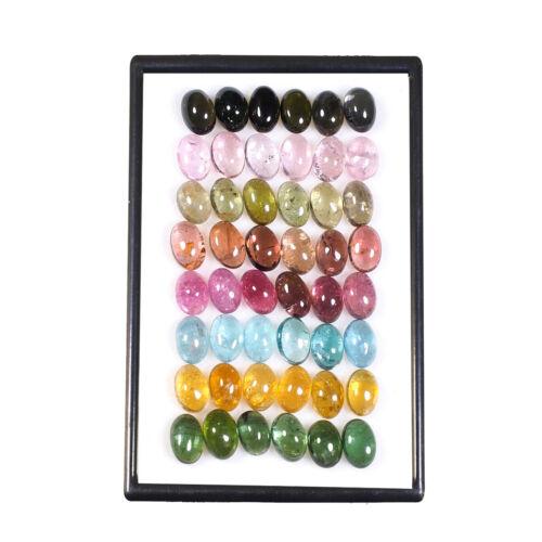 48 Pcs Natural Tourmaline 6mm*4mm Oval Cabochon Multi Color Gemstones 25.70 Cts