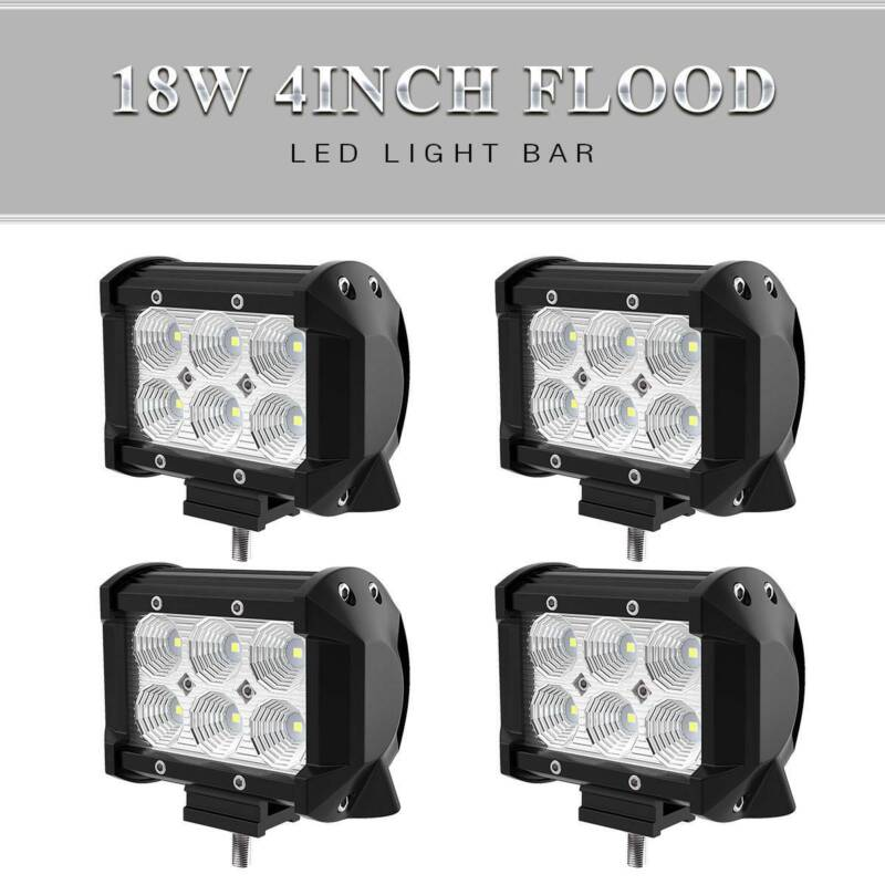 4x 4inch 18W Flood Led Work Light Fog Reverse Cube Pods Offr