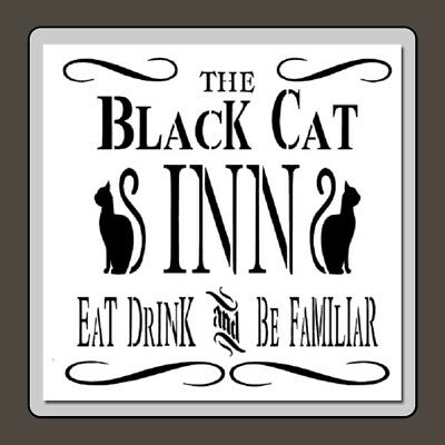 10 X 10 BLACK CAT INN Sign Craft STENCIL  Vinatge/Halloween/Cats/Swirls/Novelty - Halloween Black Cat Craft