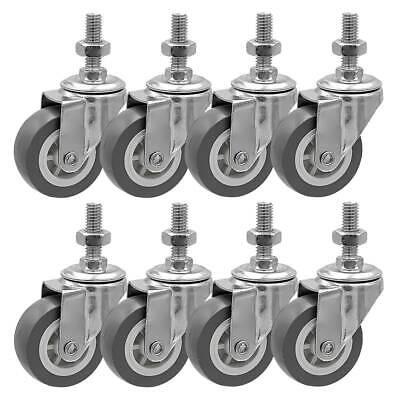 8 Pack 2 Inch Stem Casters Swivel No Brake Grey Pu Caster Wheels