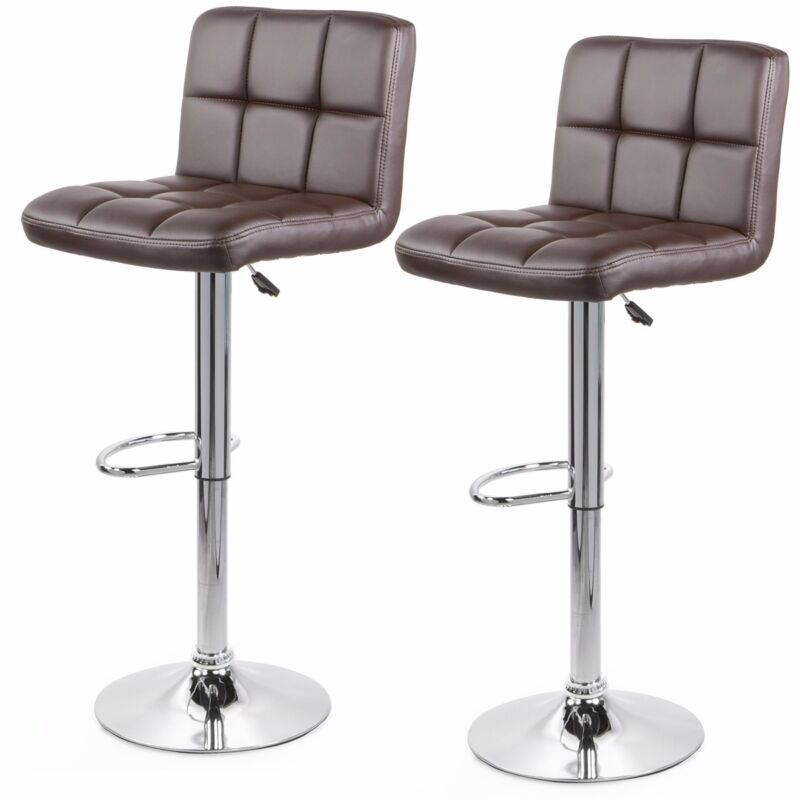 2 Brown Modern Bar Stool PU Leather Adjustable Swivel Hydraulic Chair Counter