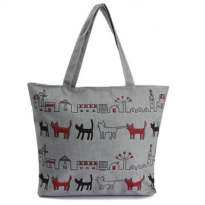 Women Canvas Lady Shoulder Bag Handbag Tote Shopping Bags Zip Cats T1