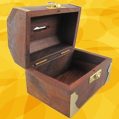 Spardose Holz Messing Weihnachten Sammler Geschenk Vintage Ästhetik Deko Truhe 2