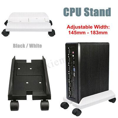 - 2 Colors PC Desktop CPU Stand Holder Computer Tower Case Wheels Width Adjustable