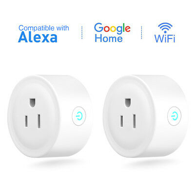 2Pack Mini WiFi Smart US Plug Outlet Socket for Alexa&Google Home Remote Control