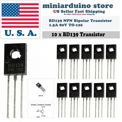 10pcs Bd139 To-126 Silicon Npn Transistor Low Voltage 80v 1.5a Sot-32 Bipolar