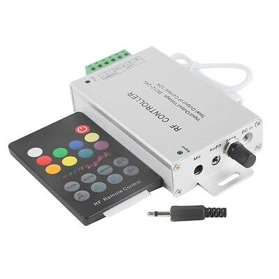 Rgb Led Strip Controller - 12A Aluminum Music Sound Controller+18 Key RF Remote for RGB LED Strip Light