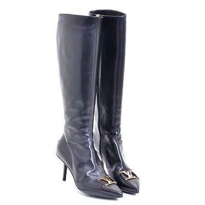 Authentic LOUIS VUITTON Black Calf leather Leather boots black boots