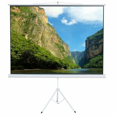 """100"""" 4:3 Portable Tripod Stand Projector Projection Screen Movie HD Pull Up Matt"""