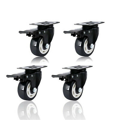 4 Pack 2.95 Inch Heavy Duty Universal Caster Wheels With Brake Swivel Top Plate