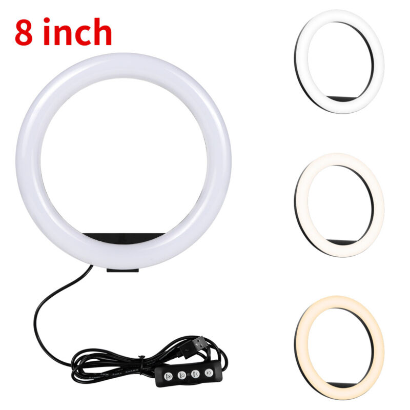 "8"" Selfie LED Ring Light Lamp For Camera Live Stream Makeup Video Youtube USA GT"