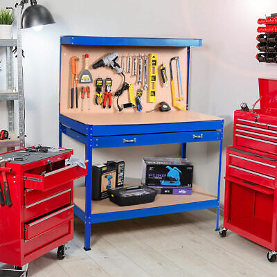 Blue Work Bench Tool Storage Steel Tool Workshop Table W/ Drawer and Peg Board ()