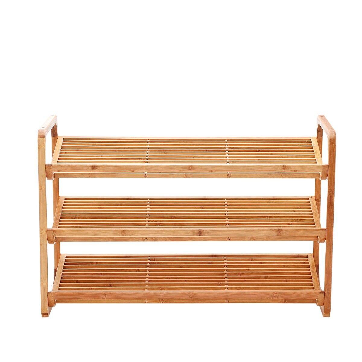 New Ridge Home Goods Natural Bamboo 2-Tier Shoe Rack Storage Cabinet White