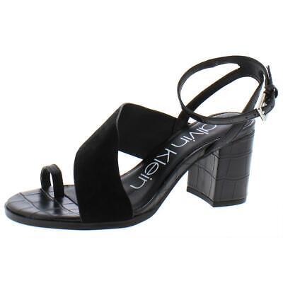 Calvin Klein Womens Coleen Black Leather Heels Shoes 6.5 Medium (B,M) BHFO 5178
