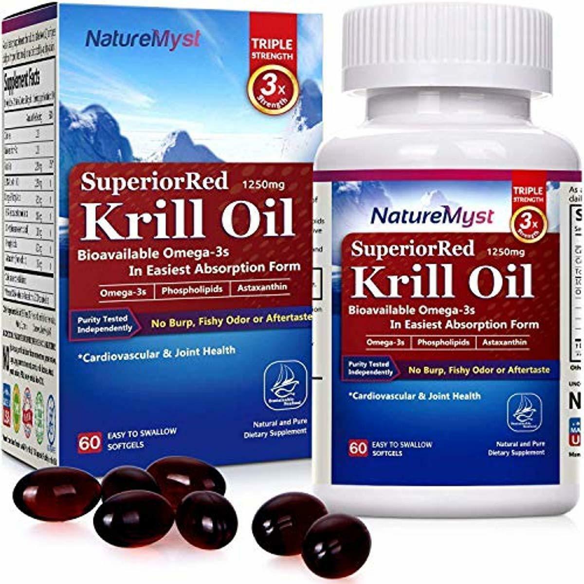 NatureMyst Krill Oil, 1250mg, Professional Grade 60 Liquid S