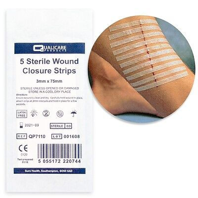 50 x STERILE SKIN CLOSURE STRIPS 3mm x 75mm Butterfly/Steri Cut Support Stitches