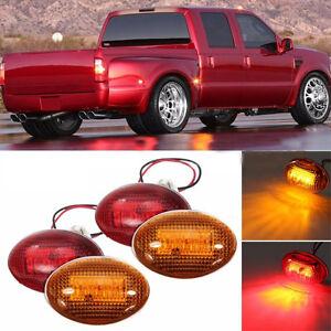 For 1999-2010 Ford F350 Amber/Red Side Fender Marker Dually Bed LED Light Kit FL