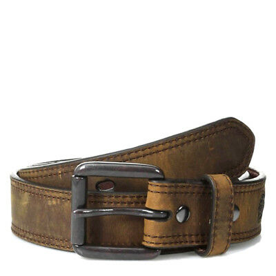 Ariat Western Mens Belt Leather Distressed Double Stitch Logo Brown A1012702 (Double Stitch Leather Belt)