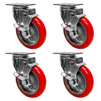 4 Pack 5 Heavy Duty Caster Wheels Polyurethane Red Swivel Plate Side Lock Brake