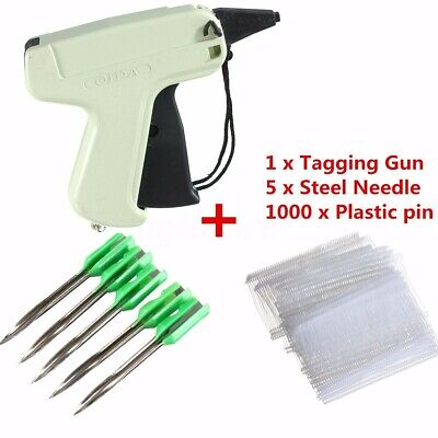 Clothes Garment Sock Price Label Tagging Tag Gun1000 Tag Barbs 5 Needles Hot