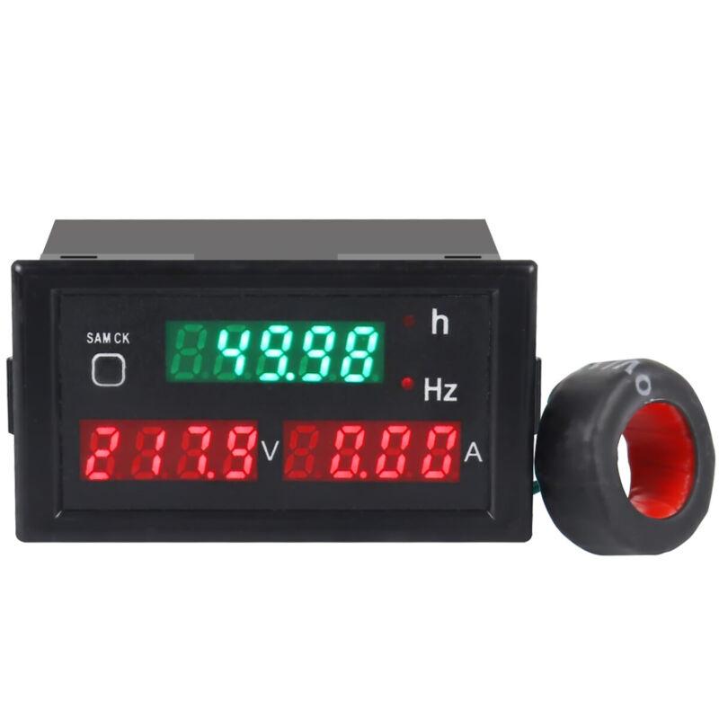 AC 80-300V 100A 45-65Hz Digital Voltmeter Frequency Volt Amp Time Panel Meter