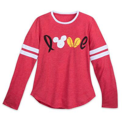 Disney store Women Mickey Mouse Love Long Sleeve Tee Shirt Top XL,2XL New
