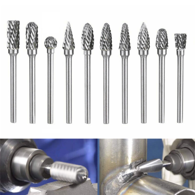 Details about 10X 1/4'' Tungsten Carbide Burr Bit Cutter File Engraving For  Dremel Rotary Tool