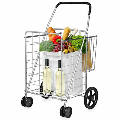 Utility Shopping Cart Foldable Jumbo Basket Outdoor Grocery Laundry Silver