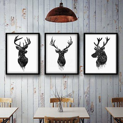 Deer Head Animal Minimalist Canvas Print Poster Watercolor Painting Modern Decor