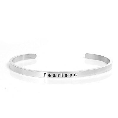 "Sexy Sparkles Stainless Steel "" Fearless "" Positive Quotes Energy Open Cuff Bang Bracelets"